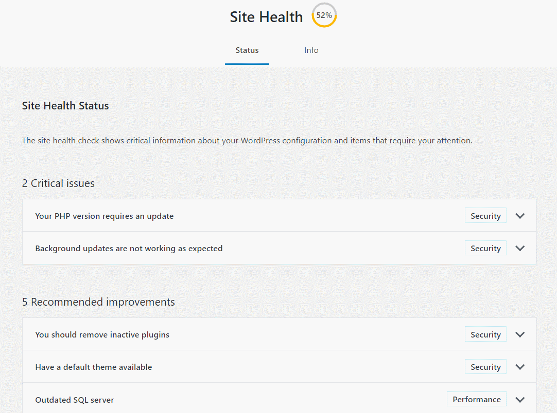 Wordpress site health, test järjestelmän komponentit