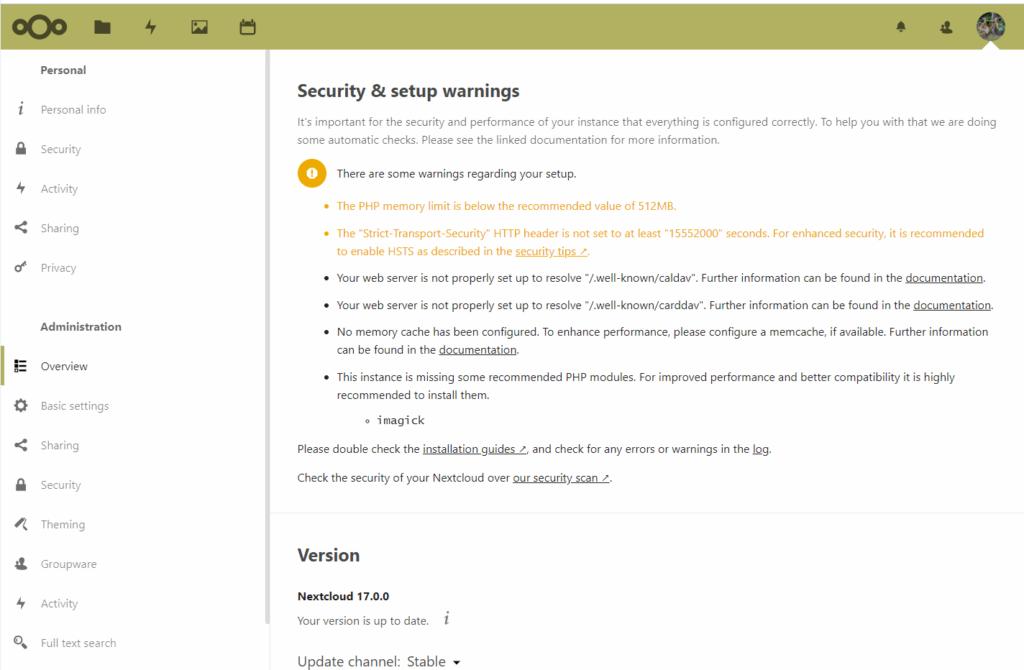 nextcloud ohjelmiston admin panel