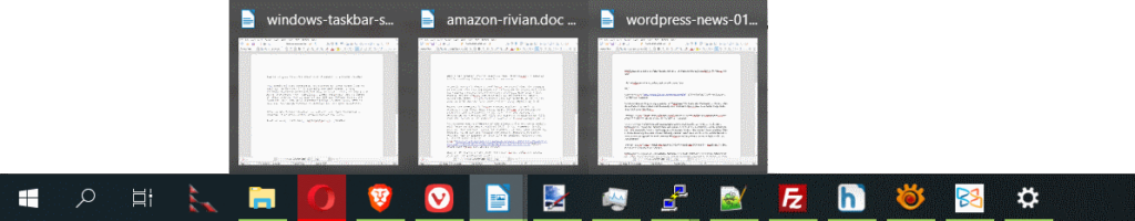 windows 10 näyttää avoimet dokumentit popup ikkunoissa