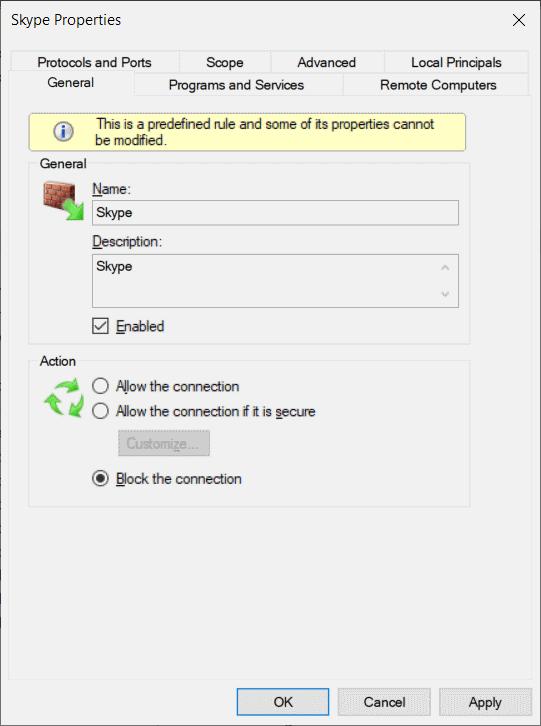 windows palomuuri estää Skype-puhelut