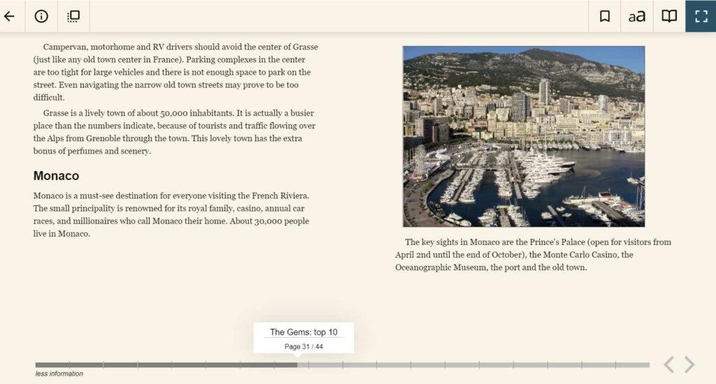 Nizza ja Riviera matkaopas, näytesivut