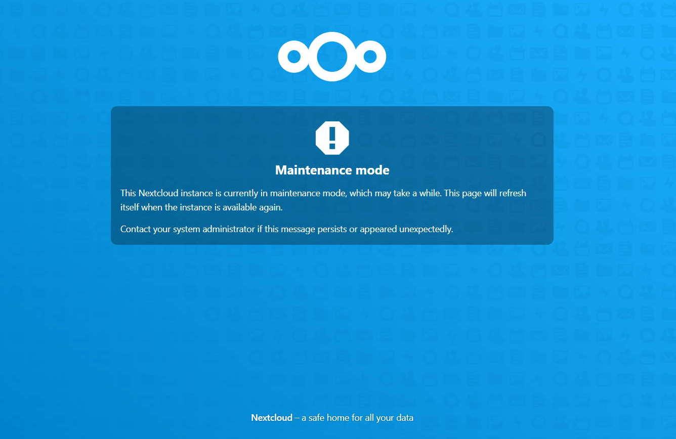 nextcloud maintenance mode kuvaruutu