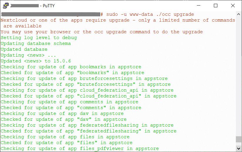 nextcloud 20 päivitys linuxin komentorivillä