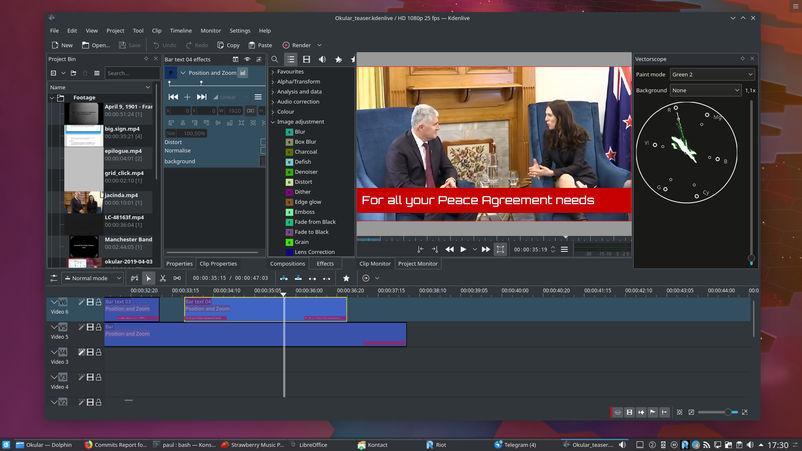 kde plasma, näytön kuva: videoeditointi