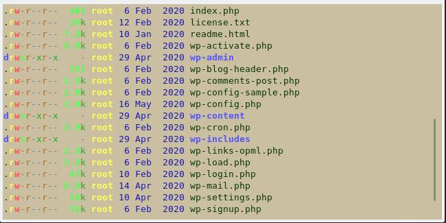 wordpress hakemisto listaus linux-palvelimella