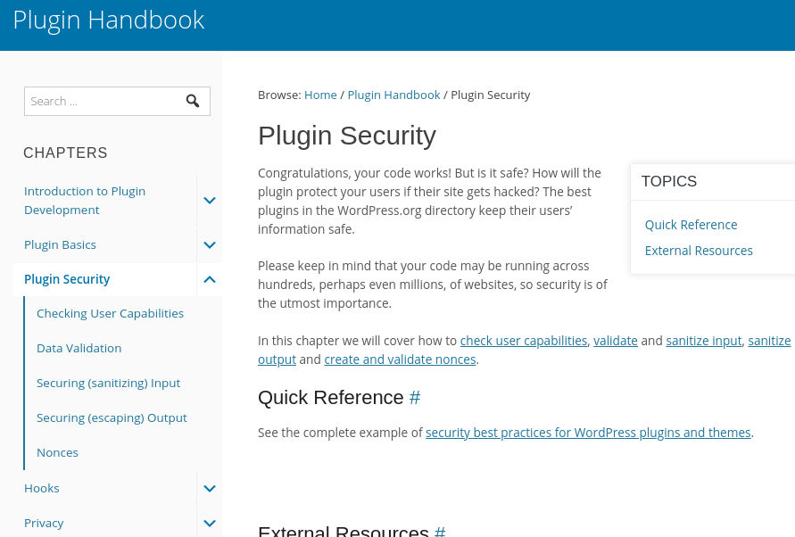 wordpress plugin handbook